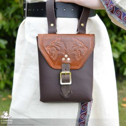 Corym Wolf A6 Leather Pouch - Brown