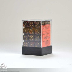 Dice Block - 36 Scarab Blue & Gold Blood Six Sided D6