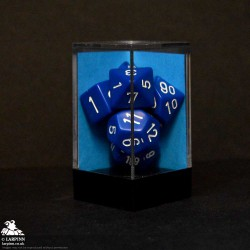 Dice Block - 7 Opaque Blue/White - Polyhedral Die Set