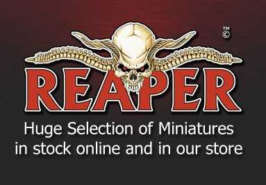 Reaper Miniatures available in the Larp Inn Games Room in Telford